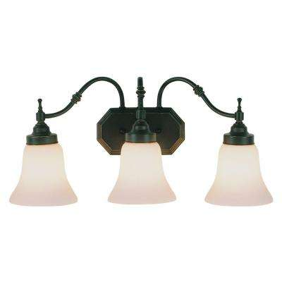 Cabernet Collection 3-Light Oiled Bronze Bath Bar Light with White Opal Shade
