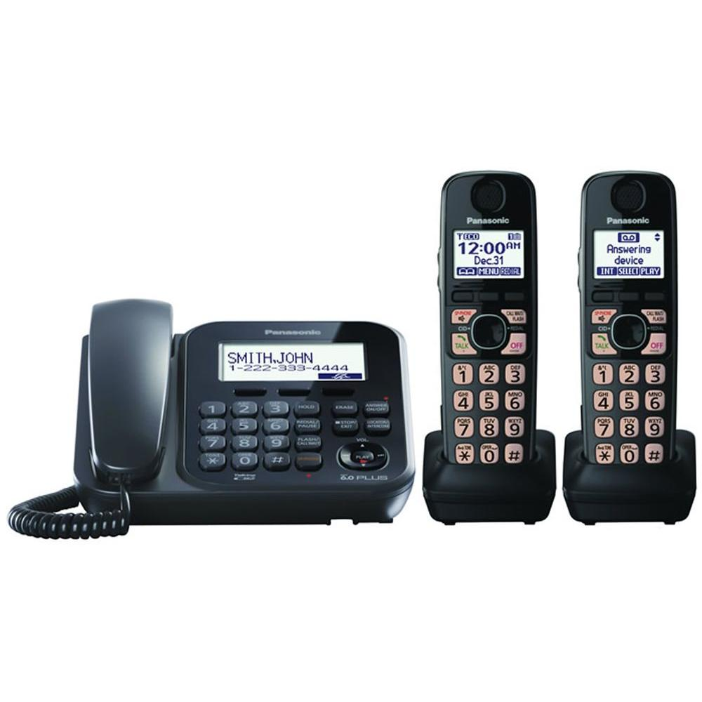 Panasonic DECT 6.0+ Corded and Cordless with Digital Answering System, 2 Handsets and Talking Caller ID