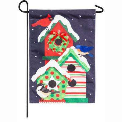 18 in. x 12.5 in. Holiday Cheer Birdhouse Trio Garden Linen Flag