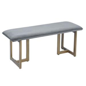Deals on FurnitureR Bench Nubuck Grey Chocolate Synthetic Leather
