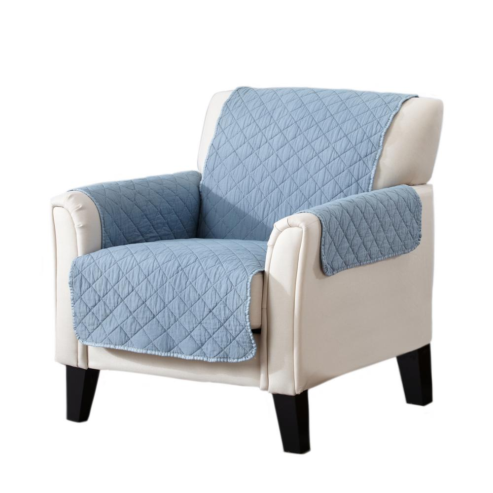 Laurina Collection Delphium Blue Stonewashed Reversible Chair Furniture Protector