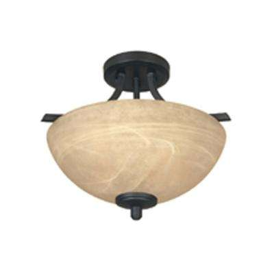 Tackwood 2-Light Burnished Bronze Ceiling Semi-Flush Mount Light