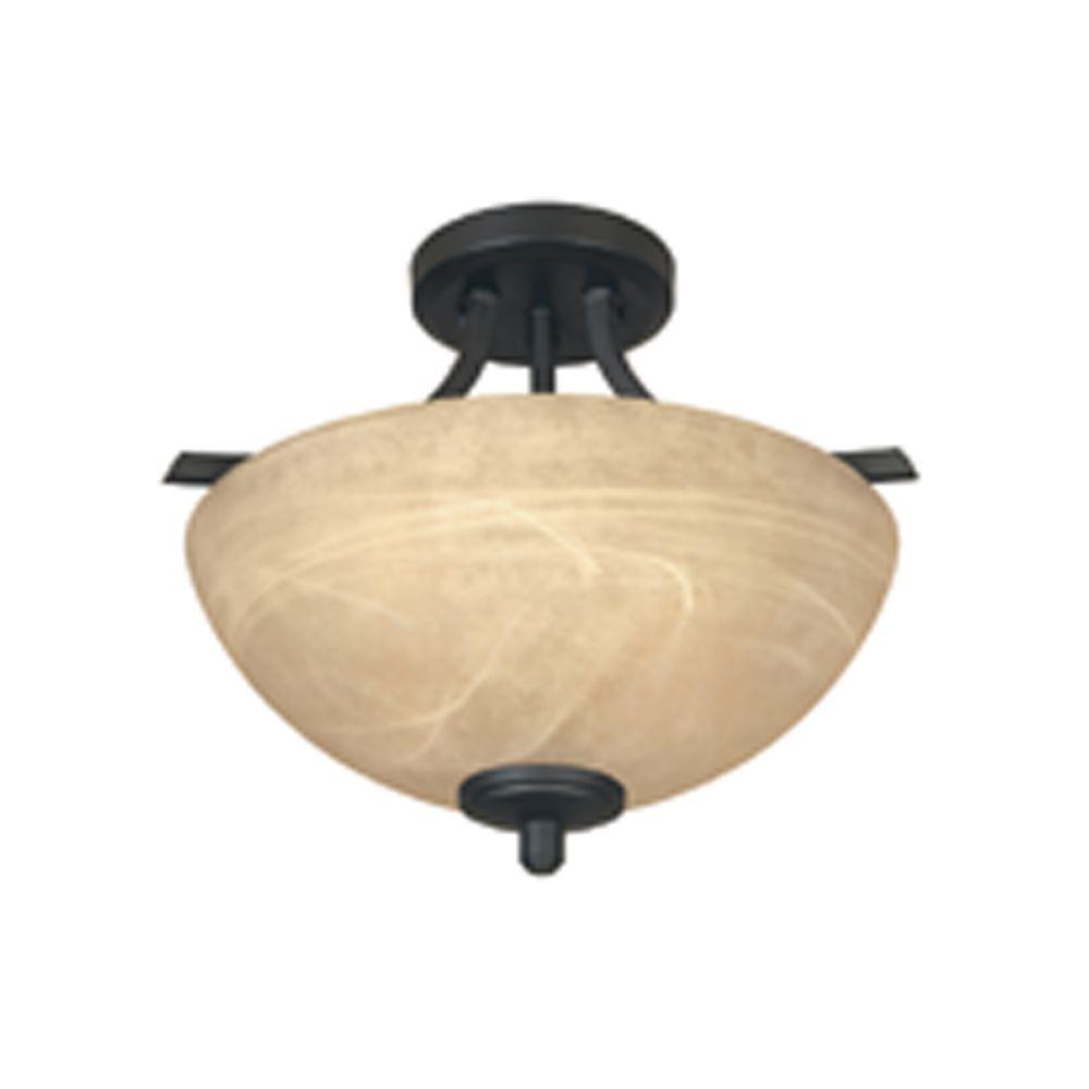 Tackwood 2-Light Burnished Bronze Ceiling Semi-Flush Mount Light