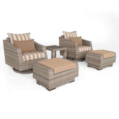 Cannes 5-Piece All-Weather Wicker Patio Motion Club and Ottoman Conversation Set with Maxim Beige Cushions