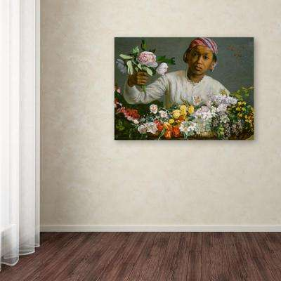 """35 in. x 47 in. """"Young Woman with Peonies"""" by Jean Frederic Bazille Printed Canvas Wall Art"""