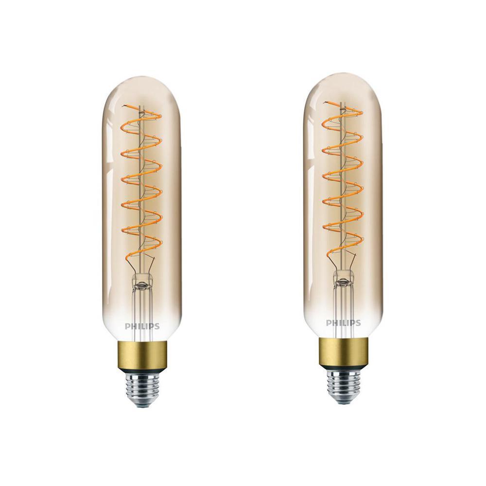 40-Watt Equivalent T20 Dimmable Vintage Glass Edison LED Large Light Bulb Amber Warm White (2000K) (2-Pack)