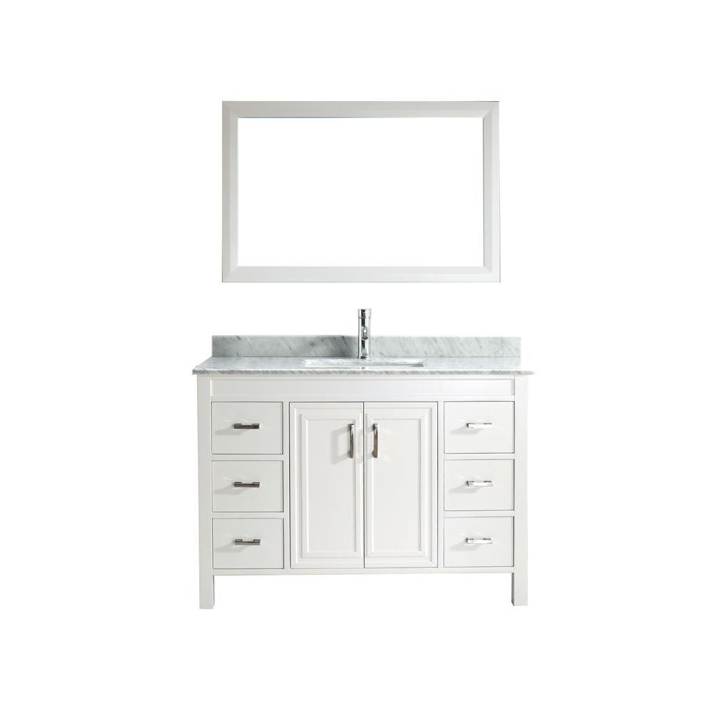 Studio Bathe Dawlish 48 in. Vanity in White with Marble Vanity Top in Carrara White and Mirror