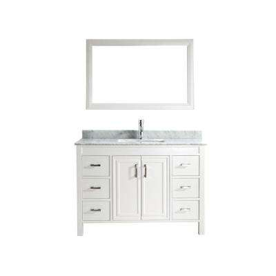 Dawlish 48 in. Vanity in White with Marble Vanity Top in Carrara White and Mirror