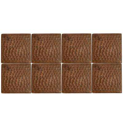 3 in. x 3 in. Hammered Copper Decorative Wall Tile in Oil Rubbed Bronze (8-Pack)