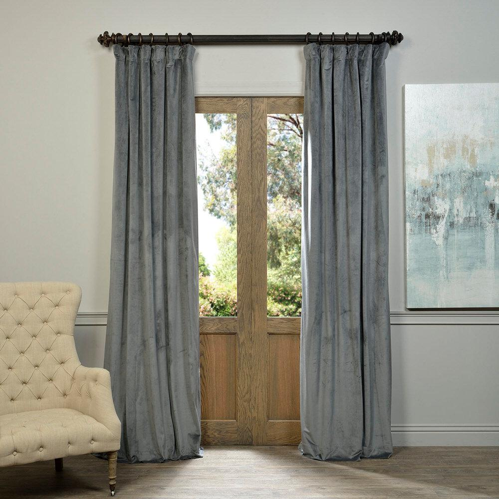 Charming Exclusive Fabrics U0026 Furnishings Blackout Signature Natural Grey Blackout  Velvet Curtain   50 In. W