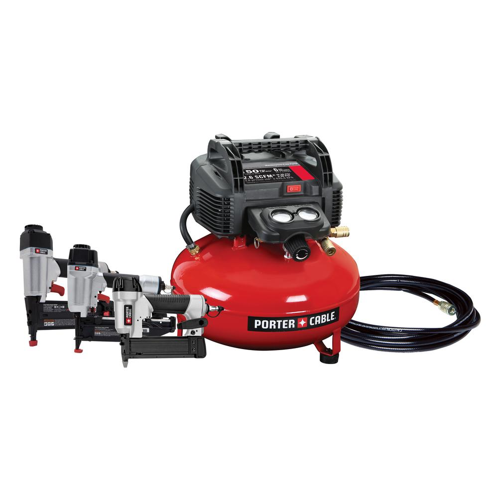 Porter Cable 6 Gal 150 PSI Portable Electric Air Compressor w/ 16 Gauge, 18 Gauge and 23 Gauge Nailer Combo Kit (3-Tool)