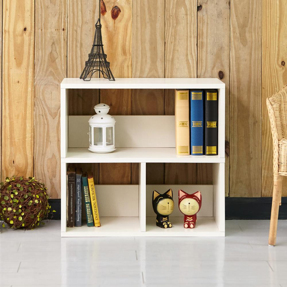 Collins White 2-Shelf Eco zBoard Stackable Tool-Free Assembly Bookcase Storage