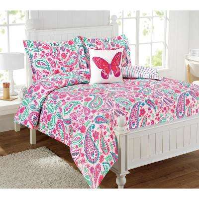 Watercolor Flutter 4-Piece Multi-Color Full Comforter Set with a decorative pillow