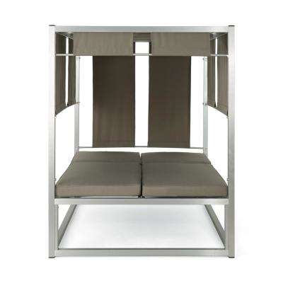 Heminger Silver Aluminum Outdoor Day Bed with Khaki Cushions