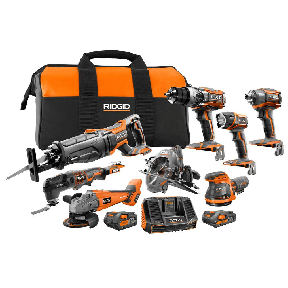 RIDGID 18-Volt Cordless 8-Piece Combo Kit with (1) 4.0 Ah Battery and (1) 2.0 Ah Battery, Charger, and Bag