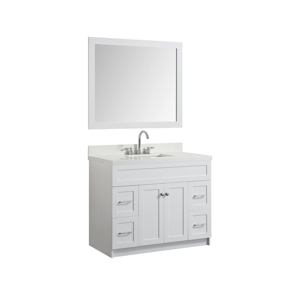 Ariel 43 In Bath Vanity In White With Quartz Vanity Top In White With White Basin And Mirror