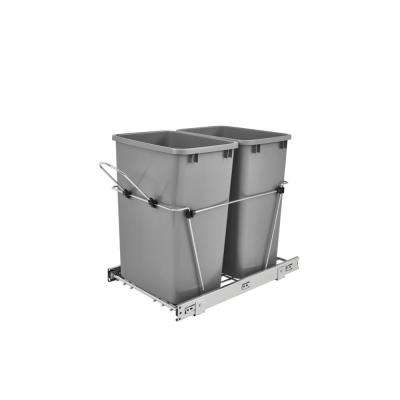 19.25 in. H x 14.38 in. W x 22 in. D Double 35 Qt. Pull-Out Silver and Chrome Waste Container