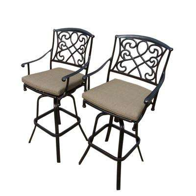 Grace Swivel Aluminum Outdoor Bar Stool with Beige Cushion (2-Pack)