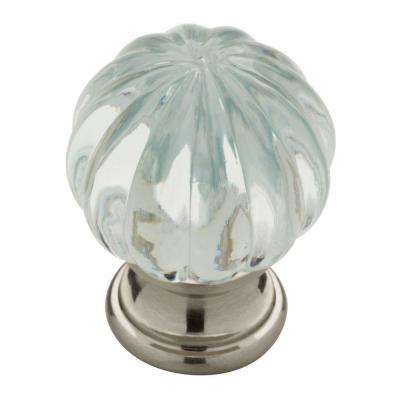 Satin Nickel With Clear Acrylic Ridge Ball Cabinet Knob