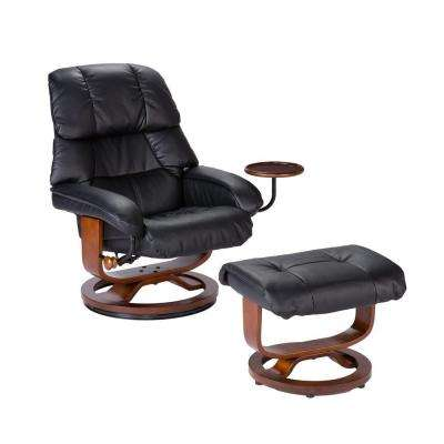 Leather Recliner and Ottoman Set in Black