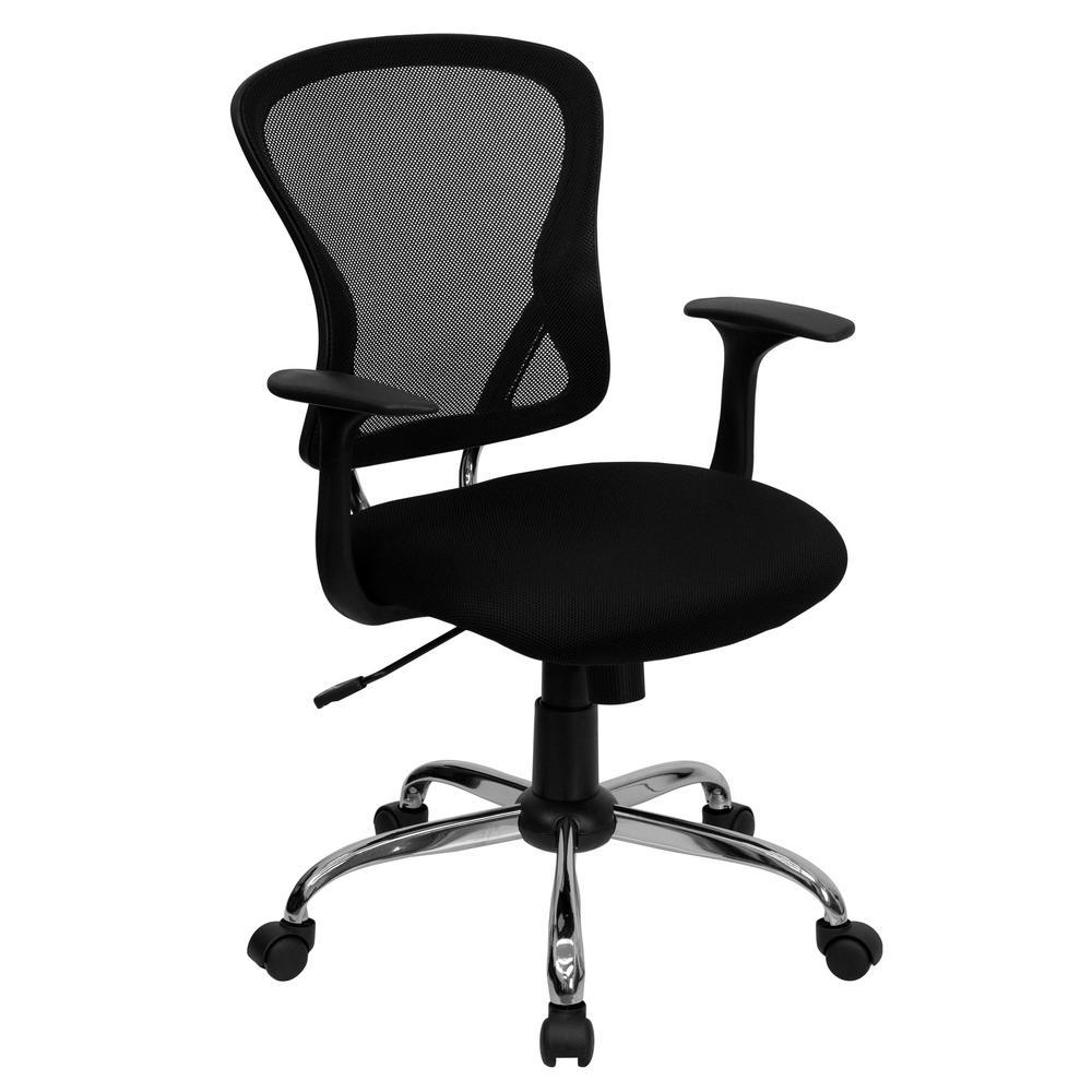 Flash Furniture Mid Back Black Mesh Swivel Task Chair With Chrome Base