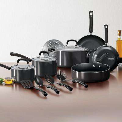 Gourmet 14-Piece Charcoal Gray Nonstick Aluminum Cookware Set