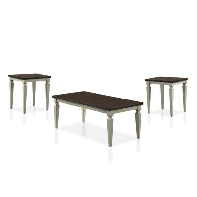 Tayson 3-Piece Antique White and Brown Wood Coffee Table Set