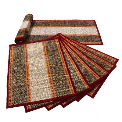 12 in. x 0.01 in. Multi-Color Hand Made Sabai Grass 1-Table Runner Along with 6-Placemat