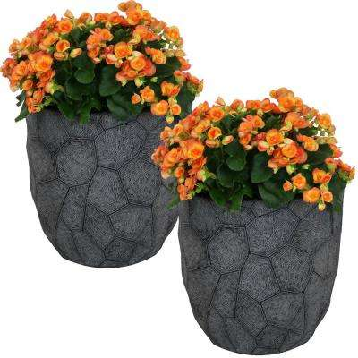 Homestead Dark Gray Carved Stone Fiber Clay Planter Flower Pot, Durable Indoor/Outdoor Use (Set of 2)