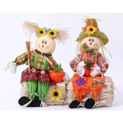 Scarecrow Boy and Girl Set Sitting on a Hay Bale