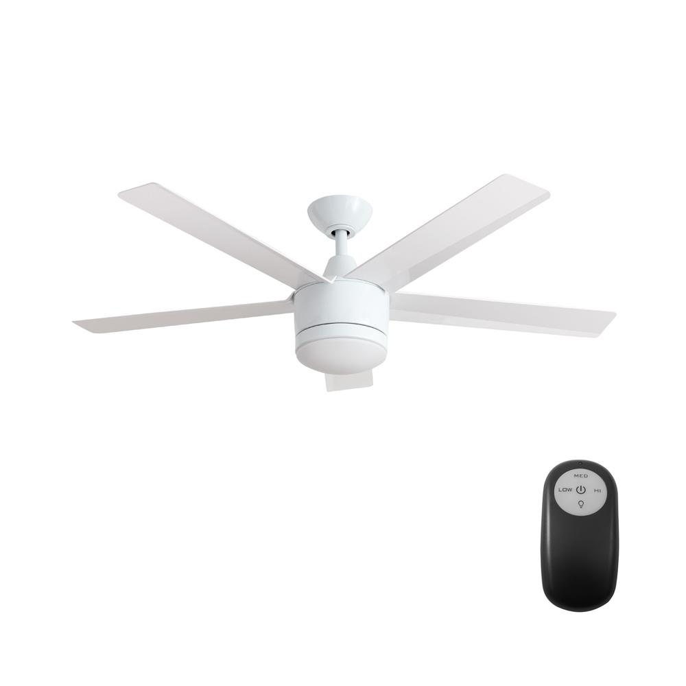 Home Decorators Collection Merwry 52 In. Integrated LED Indoor White Ceiling  Fan With Light Kit