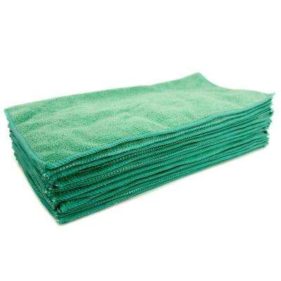 16 in. x 16 in. Green Microfiber Cleaning Towel (48-Pack)