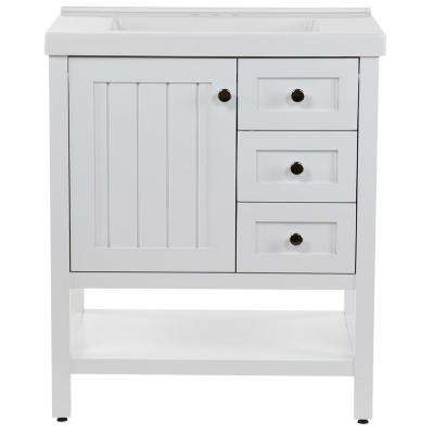 Lanceton 31 in. W x 22 in. D Bath Vanity in White with Cultured Marble Vanity Top in White with White Sink