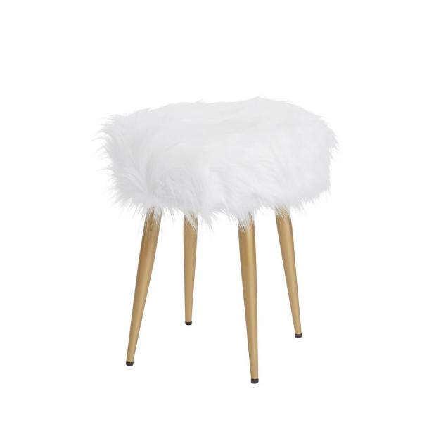 Marilyn Gold Round White Fur Vanity Stool