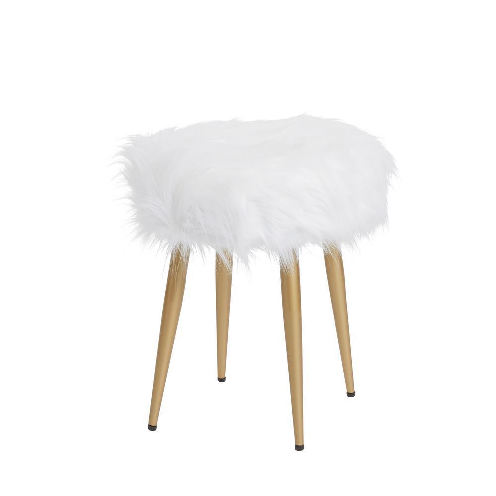 Marilyn Gold Round White Fur Vanity Stool