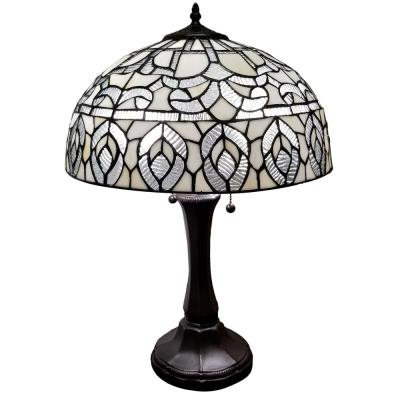 Tiffany 24 in. Silver and White Table Lamp with Stained Glass Shade
