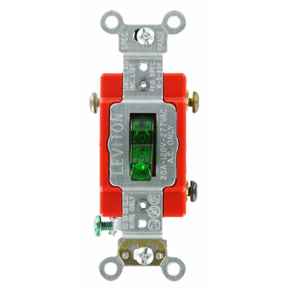20 Amp Industrial Grade Heavy Duty Single-Pole Pilot Light Toggle Switch, Green