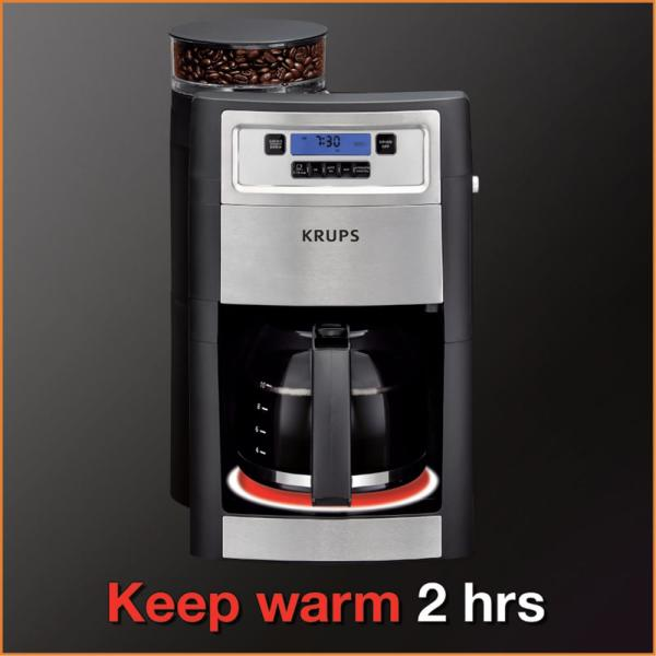 KRUPS Grind and Brew Auto-start Coffee Maker with Builtin Burr Coffee Grinder...