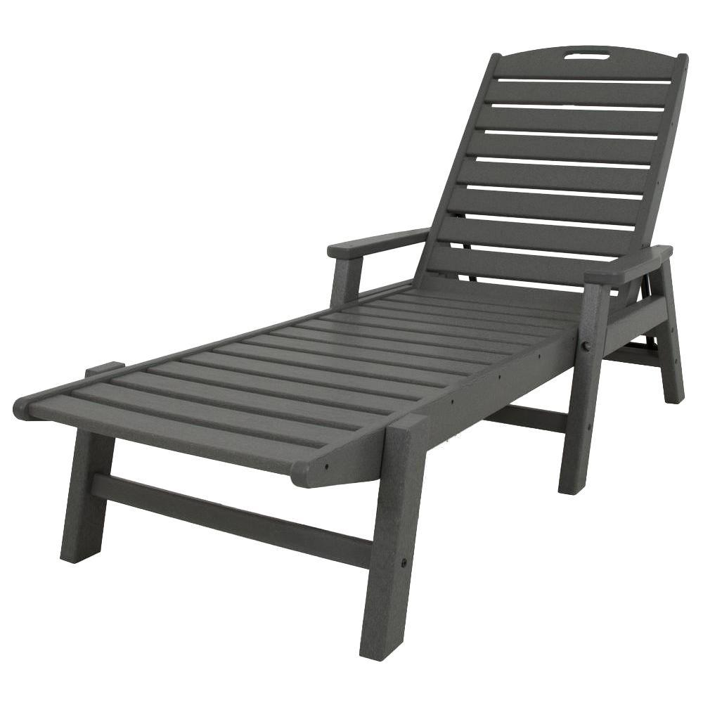 Nautical Slate Grey Stackable Plastic Outdoor Patio Chaise Lounge