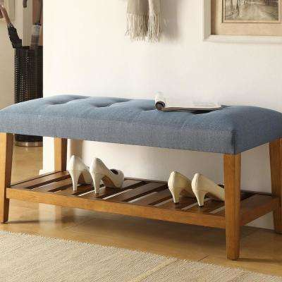 Charla Blue and Oak Bench