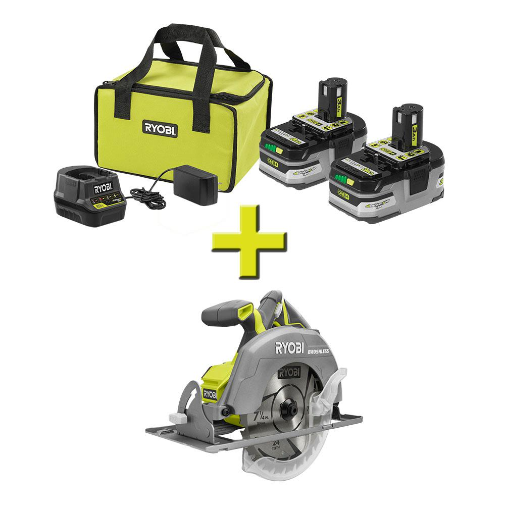 RYOBI 18-Volt ONE+ Brushless 7-1/4 in. Circular Saw w/Free ONE+ LITHIUM+ HP 3 Ah Battery 2-Pack Starter Kit w/ Charger & Bag