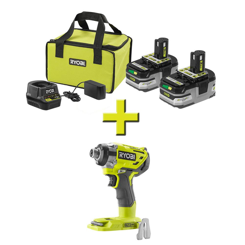 RYOBI 18-Volt ONE+ Brushless Impact Driver with ONE+ LITHIUM+ HP 3.0 Ah Battery (2-Pack) Starter Kit with Charger and Bag