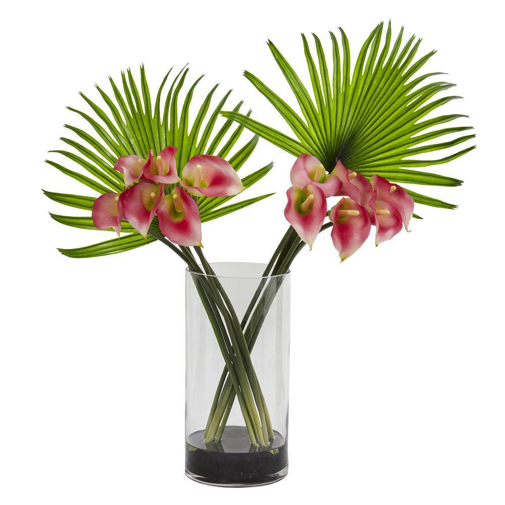 Nearly natural calla lily and fan palm artificial arrangement in nearly natural calla lily and fan palm artificial arrangement in cylinder glass vase reviewsmspy