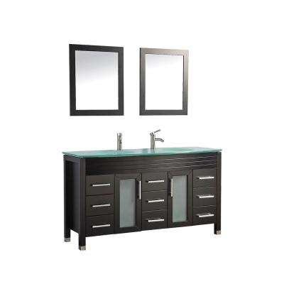 Figi 63 in. W x 22 in. D x 36 in. H Vanity in Espresso with Glass Vanity Top in Aqua with Aqua Basins and Mirrors