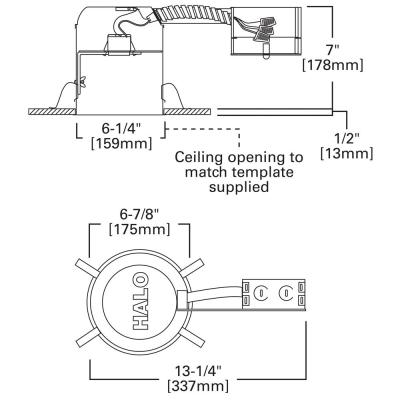 H7 6 in. Aluminum Recessed Lighting Housing for Remodel Ceiling, Insulation Contact, Air-Tite