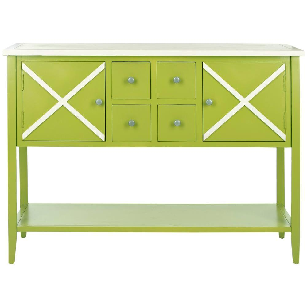 Adrienne Lime Green And White Buffet With Storage