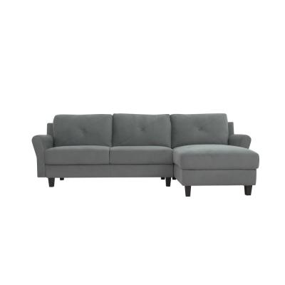 Harvard Dark Grey Sectional Sofa with Rolled Arms