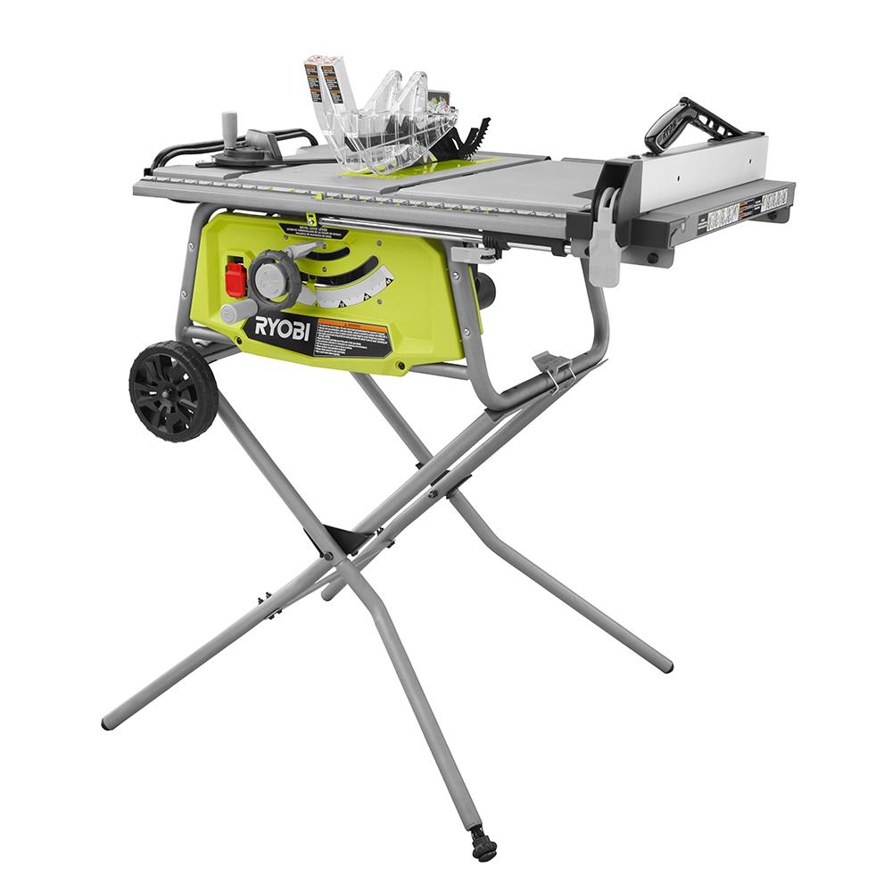 Ryobi 10 in table saw with rolling stand rts22 the home depot table saw with rolling stand greentooth Images