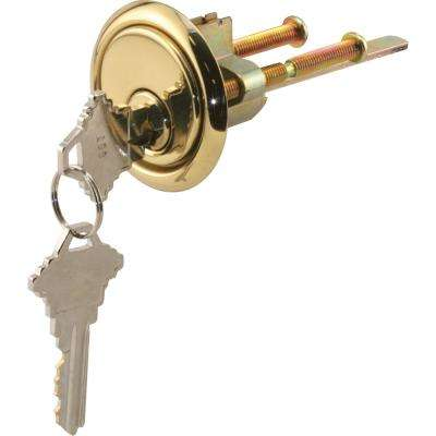 Rim Cylinder Lock with Trim Ring, 5-Pin Lock, Solid Brass Face