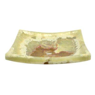 Rectangle Onyx Textured Stone Vessel Sink in Light Green